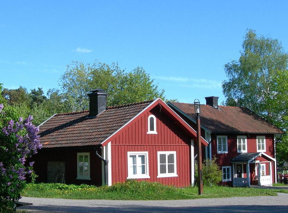 Typical traditional red Swedish houses in Stockholm.
