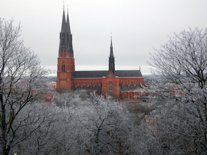 Uppsala Cathedral (Lutheran) in December 2007. Photograph taken by Mark A. Wilson (Department of Geology, The College of Wooster