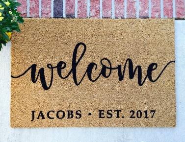 Description: Personalized Doormat // Hand-Painted Door Mat // Personalized image 0